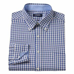New men 39 s chaps by ralph lauren beige checked button down for Chaps mens dress shirts