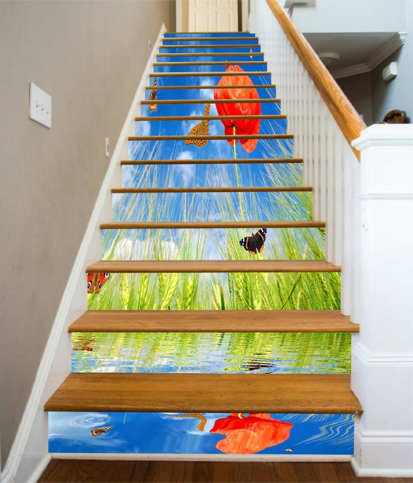 3D Wheat Flower Stair Risers Decoration Photo Mural Vinyl Decal Wallpaper CA