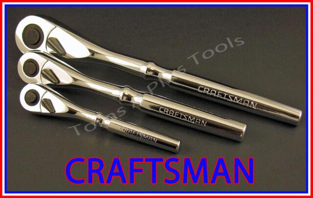 CRAFTSMAN HAND TOOLS 3pc 1/4 3/8 1/2 FULL POLISH Ratchet socket wrench set !!