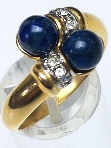 Vintage-Silber-Ring-Sodalith-amp-Weisstopase-925-Silber-vergoldet-RG-60-19-1mm-A886