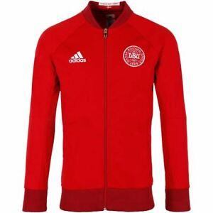 Details about adidas DENMARK ANTHEM JACKET POLYESTER RED SLIM FIT FOOTBALL ZIP DBU NATIONAL