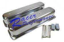 Sbc Small Block Chevy Tall Polish Aluminum Center Bolt Valve Cover No Holes 350