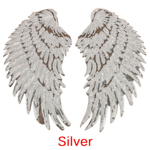 1pair Clothes Wing Sequin Motif Applique Embroidered Iron On Patches Sticker UWU