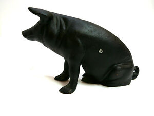 "Vintage Cast Iron Pig Piggy Bank Door Stop 5.5"" H x 11"" L"