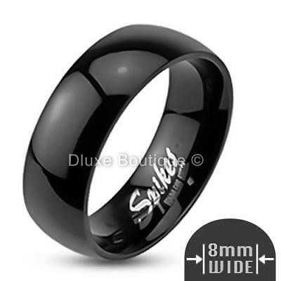 Men's 8mm Wide Black IP Stainless Steel Classic Comfort Fit Wedding Ring Band