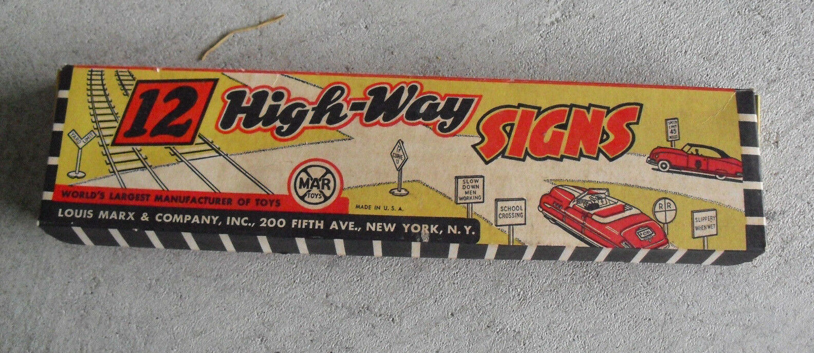 Rare Vintage Marx O Scale 12 Highway Signs in Box 1180