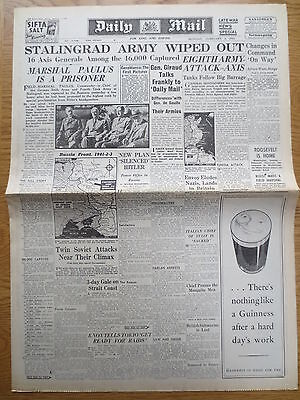 WW2 Wartime Newspaper Daily Mail 1 February 1943 Stalingrad Army Wiped Out RAF
