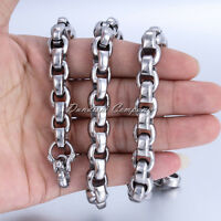12mm Silver Tone Box Link Men's Chain Boys 316L Stainless Steel Necklace HEAVY
