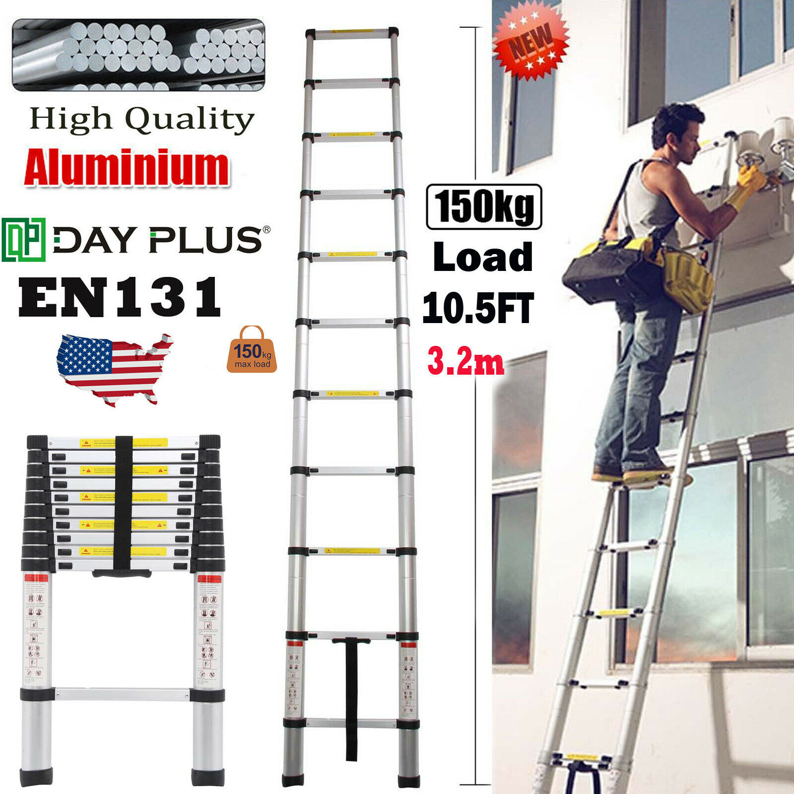 3.2m Folding Step Aluminum Telescoping Collapsible Roof Climbing Ladder 10.5FT