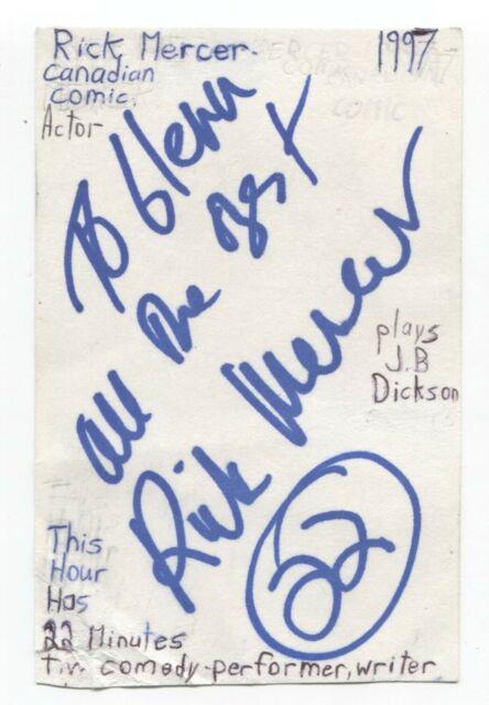 Rick Mercer Signed 3x5 Index Card Autographed Signature Comedian Comic Actor