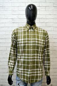 Camicia-Uomo-TOMMY-HILFIGER-Taglia-XL-Maglia-Polo-Shirt-Quadri-Verde-Hemd-Cotone