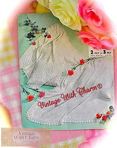 Vintage-Baby-Items-Knitting-Pattern-Baby-039-s-Shawl-In-2-Stunning-Styles