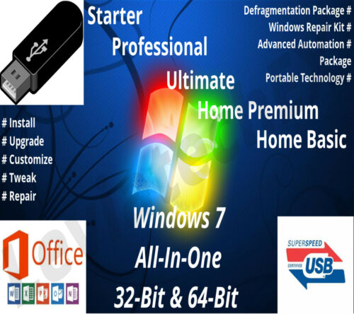 FREE LICENSE KEY Windows 7 Bootable Flash Drive 32 /& 64 Bit Fresh Install
