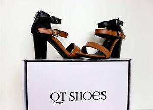 Black Brown Strappy Sandal Women High Block Heels Shoes (Black Forest) Overstock