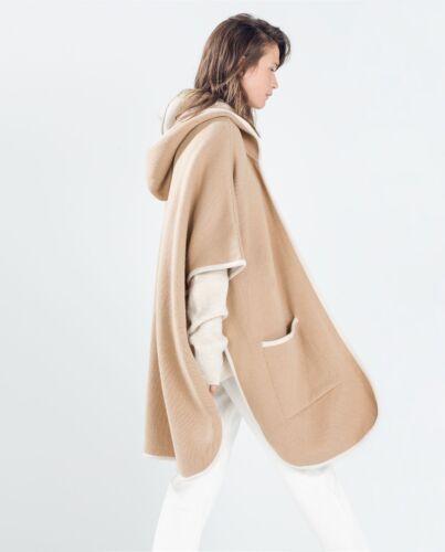 Beiige Une Et Avec Capuche Taille Capuche Camel Poncho Manteau New Rare Zara À En P0qF5z