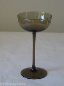 3 Vintage Modern Tall Smoke Grey Black Glass Crystal