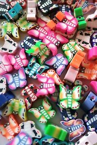 FAST FREE SHIPPING 50 GORGEOUS FIMO POLYMER CLAY BUTTERFLY BEADS