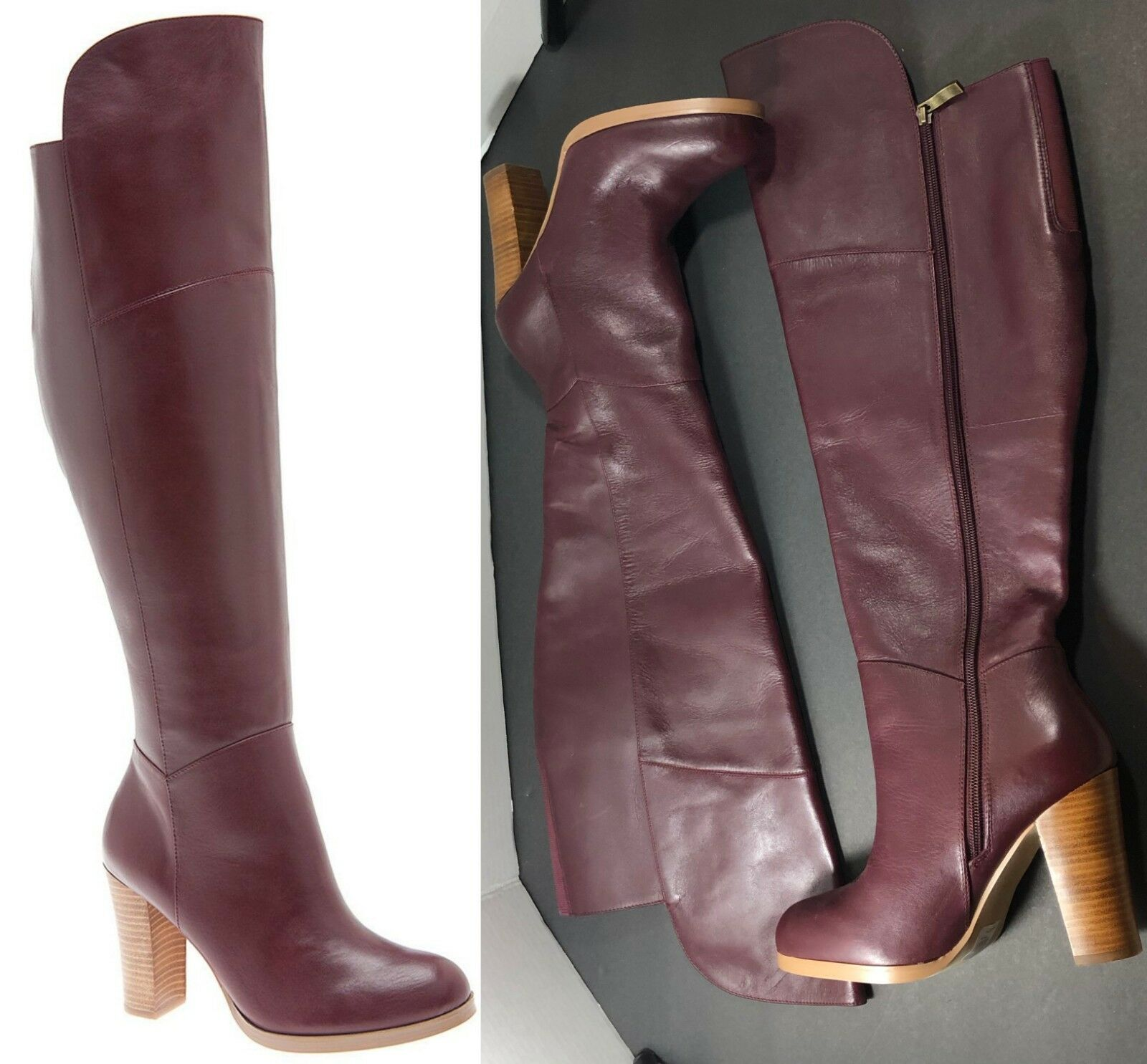 269 Lane Bryant Luciana Over the Knee Leather Boots Size 7 Wide Leather 7W