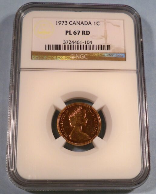 1973 1c CANADA NGC PL 67 RD CENT PROOF LIKE MS 67 RED