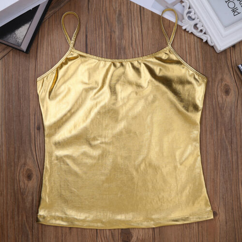 Fashion Womens Metallic Dance Vest Crop Tops Bralette Blouse Tank Tops T-Shirt