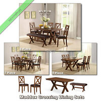 5, 6, 7 Pc Dining Room Sets, Tables Chairs Benches Wood Country Set For 4 And 6