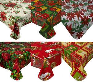 Festive Christmas Tablecloth Pvc Flannel Back Xmas Design Home Decor Table Linen Ebay