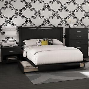 Details about Black 4-Piece Storage Platform Bed Collection Set Home Living  Bedroom Furniture