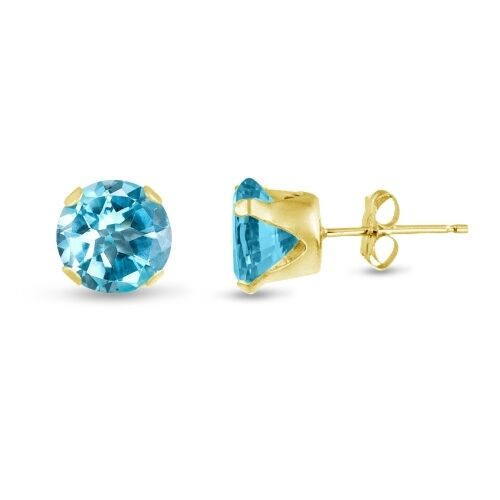 March Birthstone Genuine Sky Blue Topaz Gold Plated Silver Stud Earrings Round