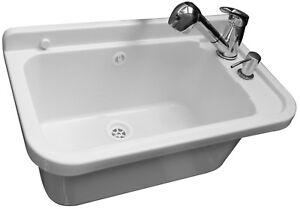Set-Ausgussbecken-50cm-Waschbecken-Spuelbecken-inkl-Ausziehbare-Einhandmischer
