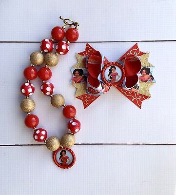 Bubblegum Necklace Set Navy And Silver Holiday Christmas Hair Bow And Chunky