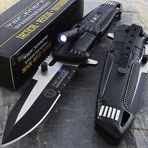 """8.5"""" TAC FORCE EMT SPRING ASSISTED TACTICAL KNIFE w/ LED LIGHT Pocket Blade Open"""