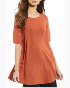 b32a1227dff611 Image is loading Eileen-Fisher-Lightweight-Viscose-Jersey-Jewel-Neck-Small-