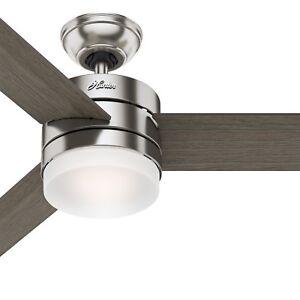 Hunter Fan 54 Inch Modern Ceiling Fan With Led Light Kit In Brushed Nickel Ebay