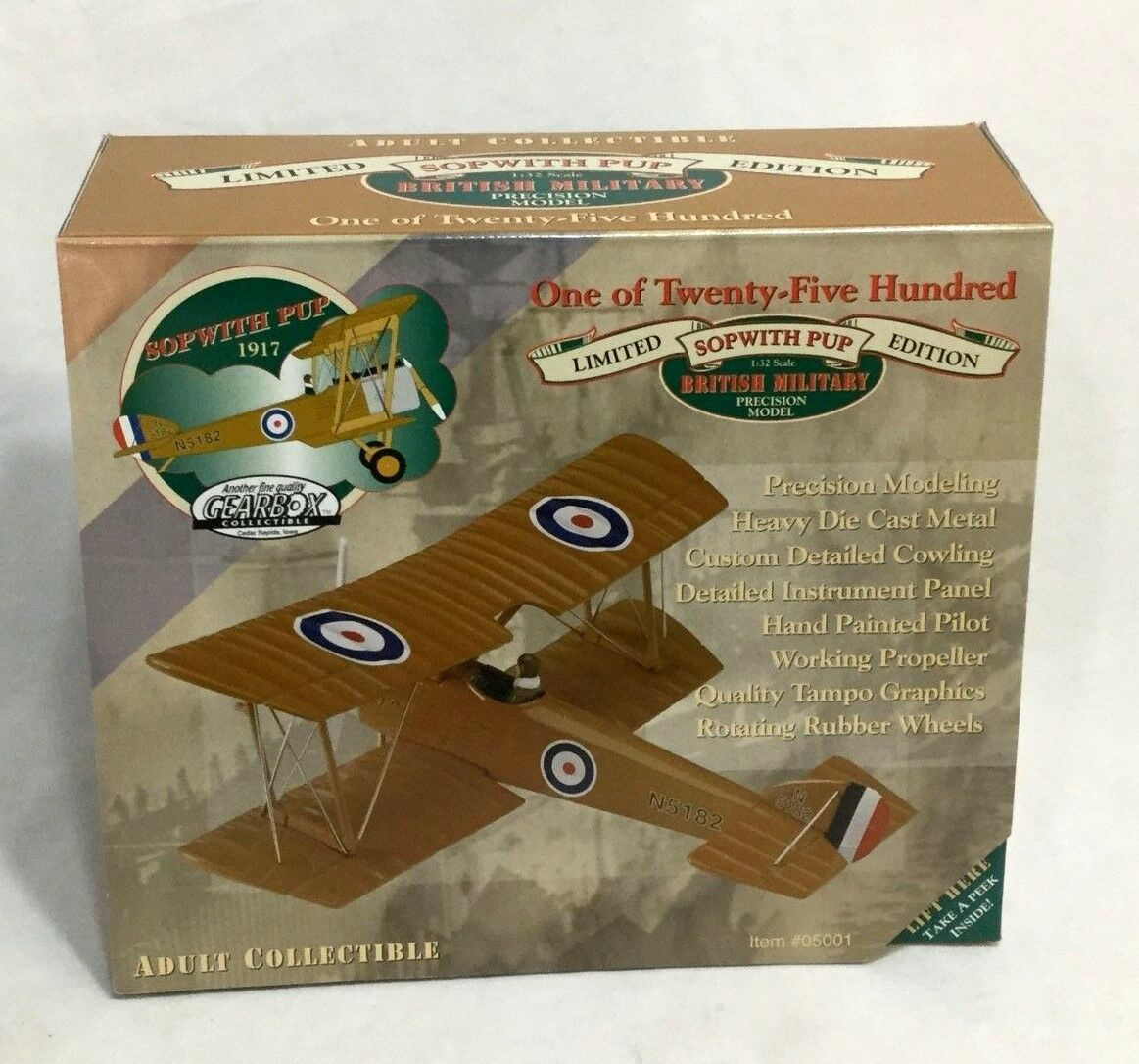 NEW 1997 Gearbox WWI British Army 1917 Sopwith Pup Diecast Bi-Plane 1 32 Scale