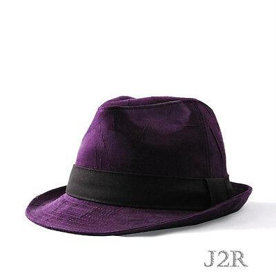 Soft Corduroy Feeling Fedora With Color Hat Band 7 3//8 J2R JRJ071 Purple