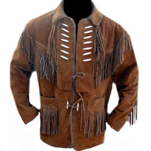 Da Uomo Western in Pelle Scamosciata indossare Stile Cowboy frange Ossa Cappotto Giacca