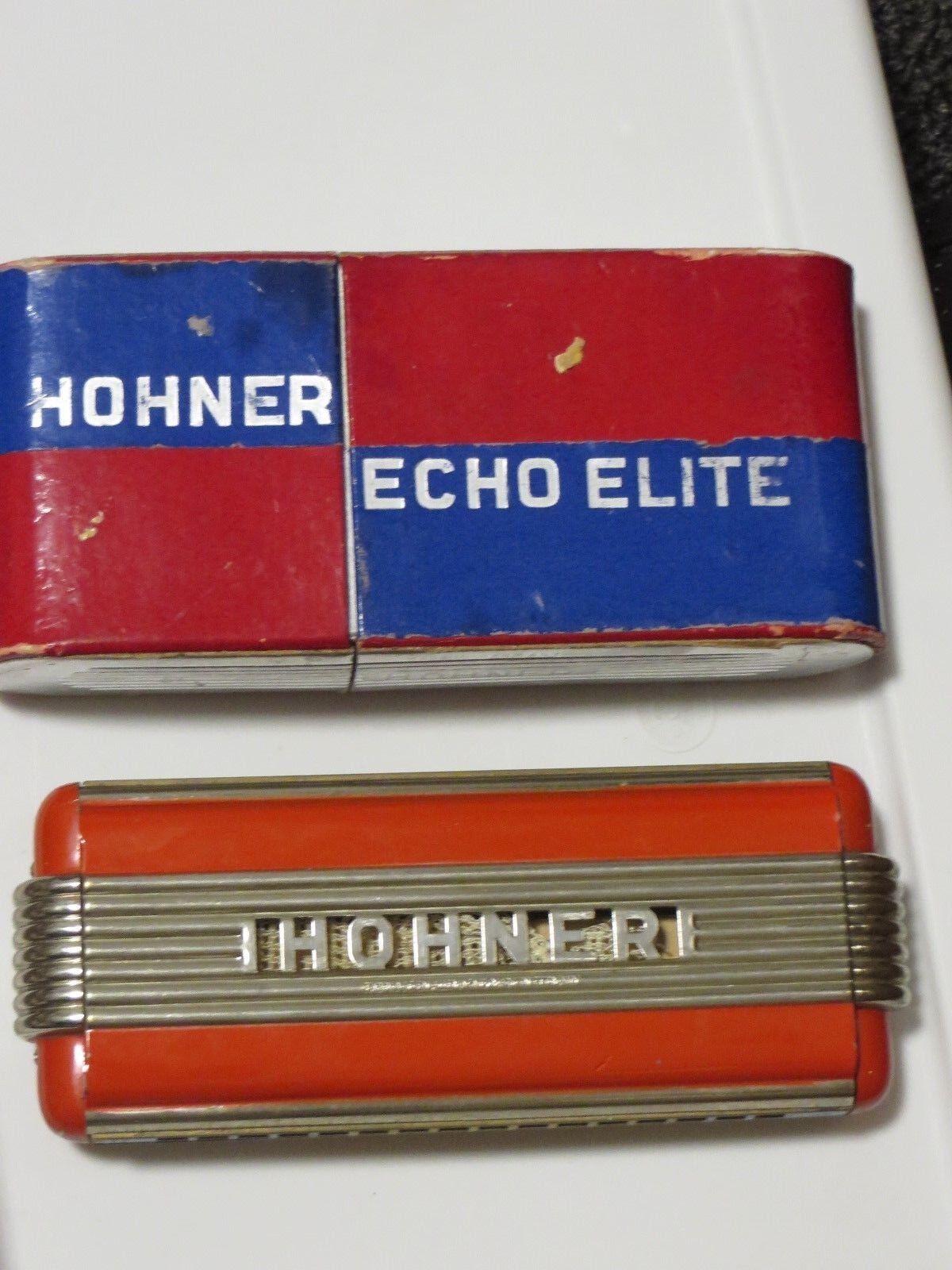 Vintage HOHNER ECHO ELITE HARMONICA GERMANY & Box (1930's) ART DECO Blau&rot BOX