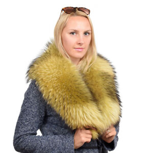 b023bd97c8b5c Details about Yellow Genuine Finn Raccoon Fur Collar! NEW! Wrap Scarf Stole  Natural Fur Shawl