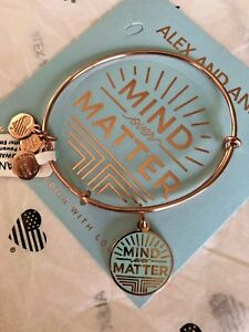 Mind Over Matter Charm Bangle Rose Gold NWT ALEX AND ANI Words Are Powerful