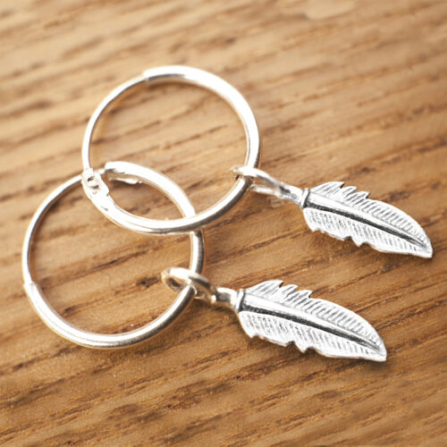 Argent Sterling 925 Boucles d/'oreilles créoles avec croix /& Feather Charms mix and match