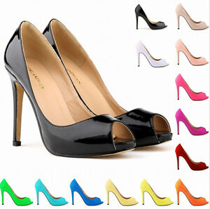 Womens-Sexy-High-Heel-Peep-Toe-Stilettos-Pump-Patent-Leather-Court-Formal-Shoes