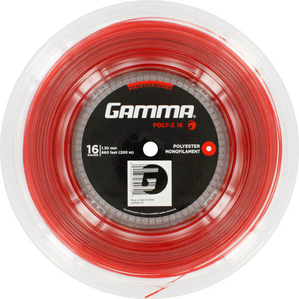 TENNIS STRING GAMMA POLY-Z 2 GAUGES 200M RED