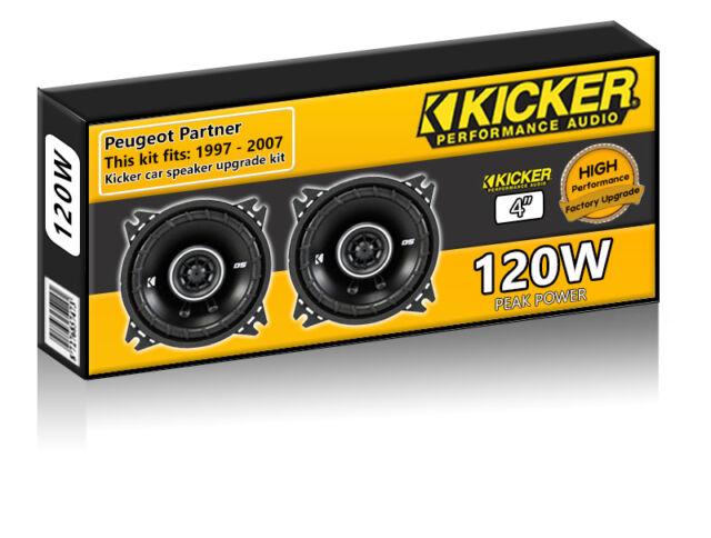 """Peugeot Partner Front Dash Speakers Kicker 4"""" 10cm car speaker kit 120W"""