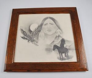 Details About Original Pencil Drawing Native American Indian Eagle Horse Signed Cameron 87