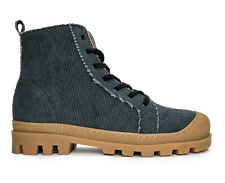 High-Top Lace-Up sneaker with lugged sole on breathable Organic Cotton fabric