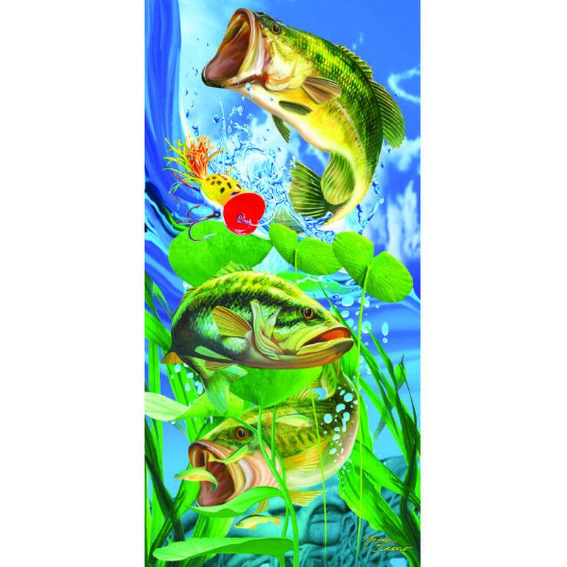New Fishing Large Mouth Bass Bath Beach Pool Gift Towel Lake Fish Fisherman Lure