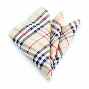 Amedeo-Exclusive-Pocket-Square-Handkerchief-Silk-Plaid-Black-Red-Tan