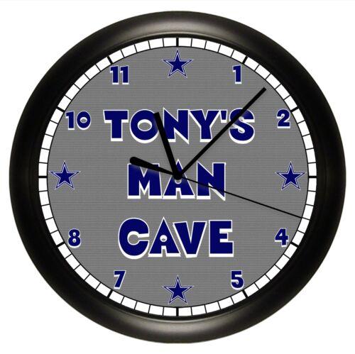 MAN CAVE WALL CLOCK PERSONALIZED GIFT GRAY NAVY BLUE DAD DALLAS COWBOYS LOGO