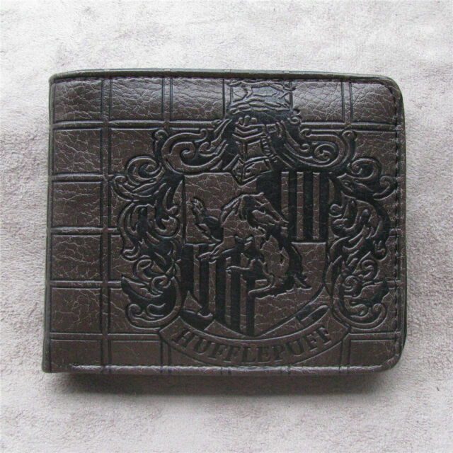 Harry Potter Hufflepuff Men's Wallet Leather pu Bi-Fold Wallet Coin Purse Gift
