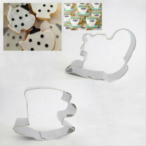 Stainless Steel Metal Cake Mold Teapot Tea Cup Set Cookie Cutter 2Pcs DL5